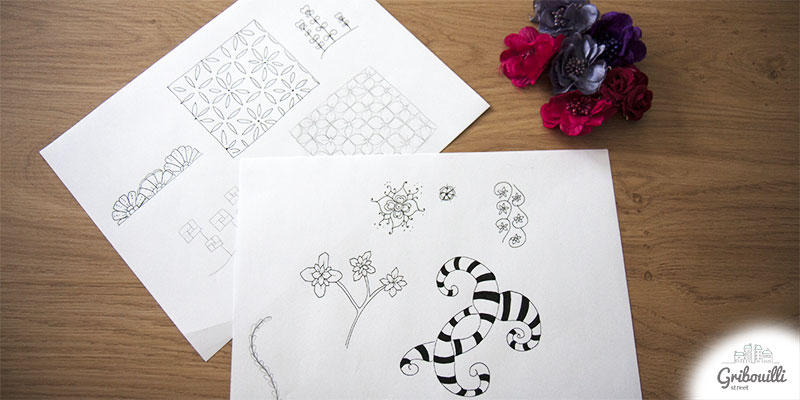 Des motifs zentangle fleuris