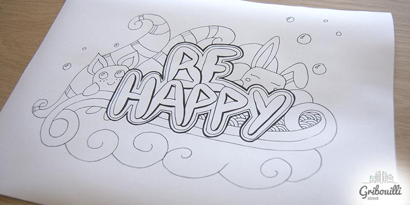 Le dessin de Base de l'illustration Be Happy