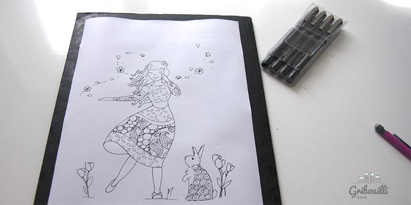 Mademoiselle Avril version zentangle... en cours de création