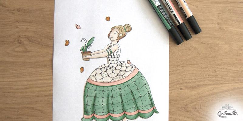 La version coloriée aux feutres de Mademoiselle