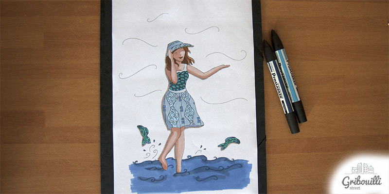Mademoiselle Juillet version coloriée aux feutres... du bleu, des bleus...