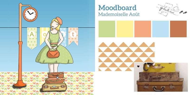 Moodboard ou planche d'inspiration pour la version numérique du mois d'aout