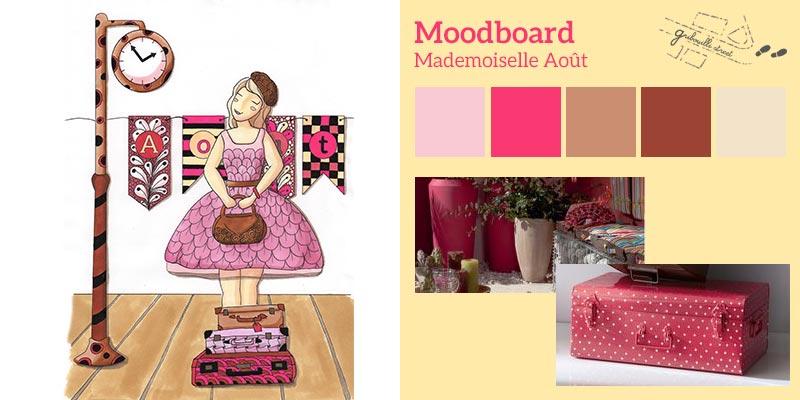 Moodboard ou planche d'inspiration pour la version papier du mois d'aout