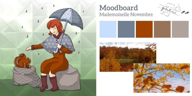 Moodboard ou planche d'inspiration pour la version numérique du mois de novembre