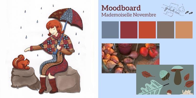 Moodboard ou planche d'inspiration pour la version papier de Mademoiselle Novembre