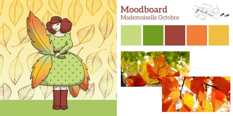 Moodboard ou planche d'inspiration pour la version numérique du mois d'octobre