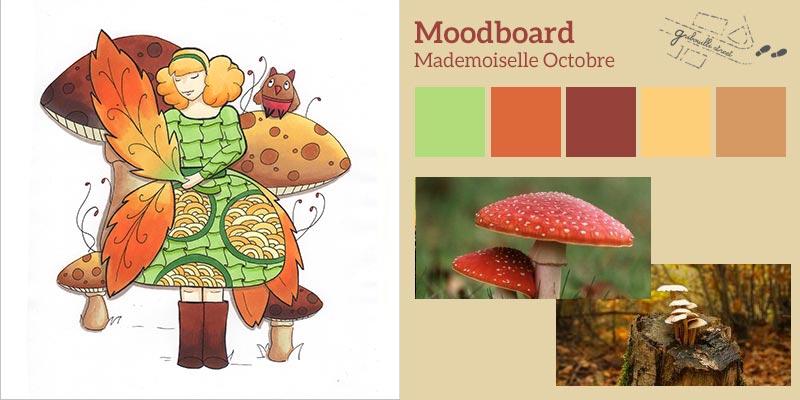 Moodboard ou planche d'inspiration pour la version papier du mois d'octobre