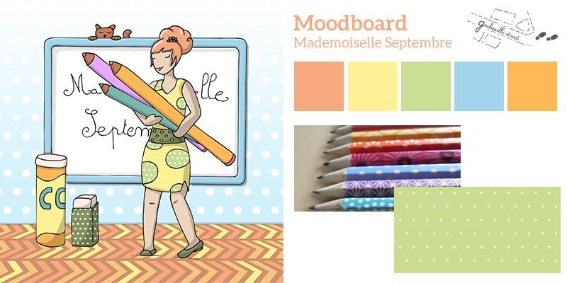 Moodboard ou planche d'inspiration pour la version numérique du mois de septembre