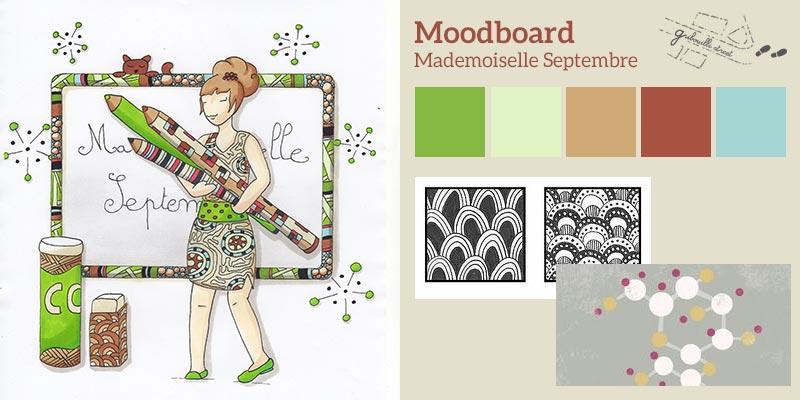 Moodboard ou planche d'inspiration pour la version papier du mois de septembre