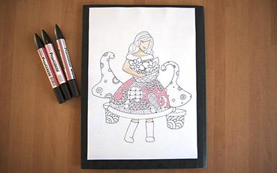 Illustration de la demoiselle de décembre aux couleurs de noël version pastel