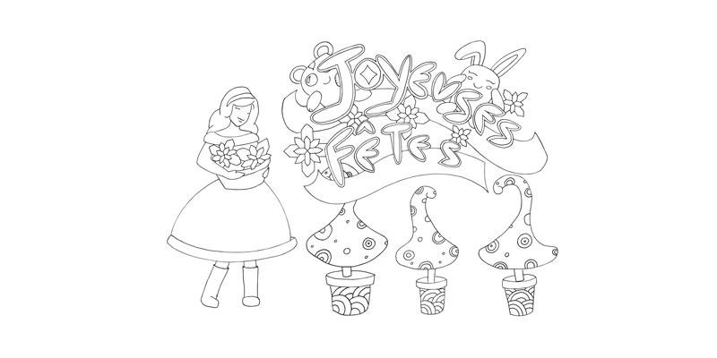 Joyeuses Fetes version à colorier